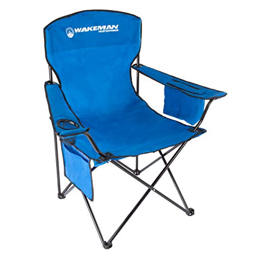 Wakeman OutdoorsOversized Camp Chair-300lb. Capacity Heavy Duty Big Tall Quad Seat with Cup Holder, Cooler, Carry Bag-Tailgating, Camping, Fishing