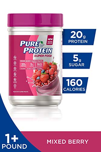 Pure Protein Vegan Plant Based Hemp and Pea Protein Powder, Gluten Free, Mixed Berry Super Fruits, 1.51 lbs