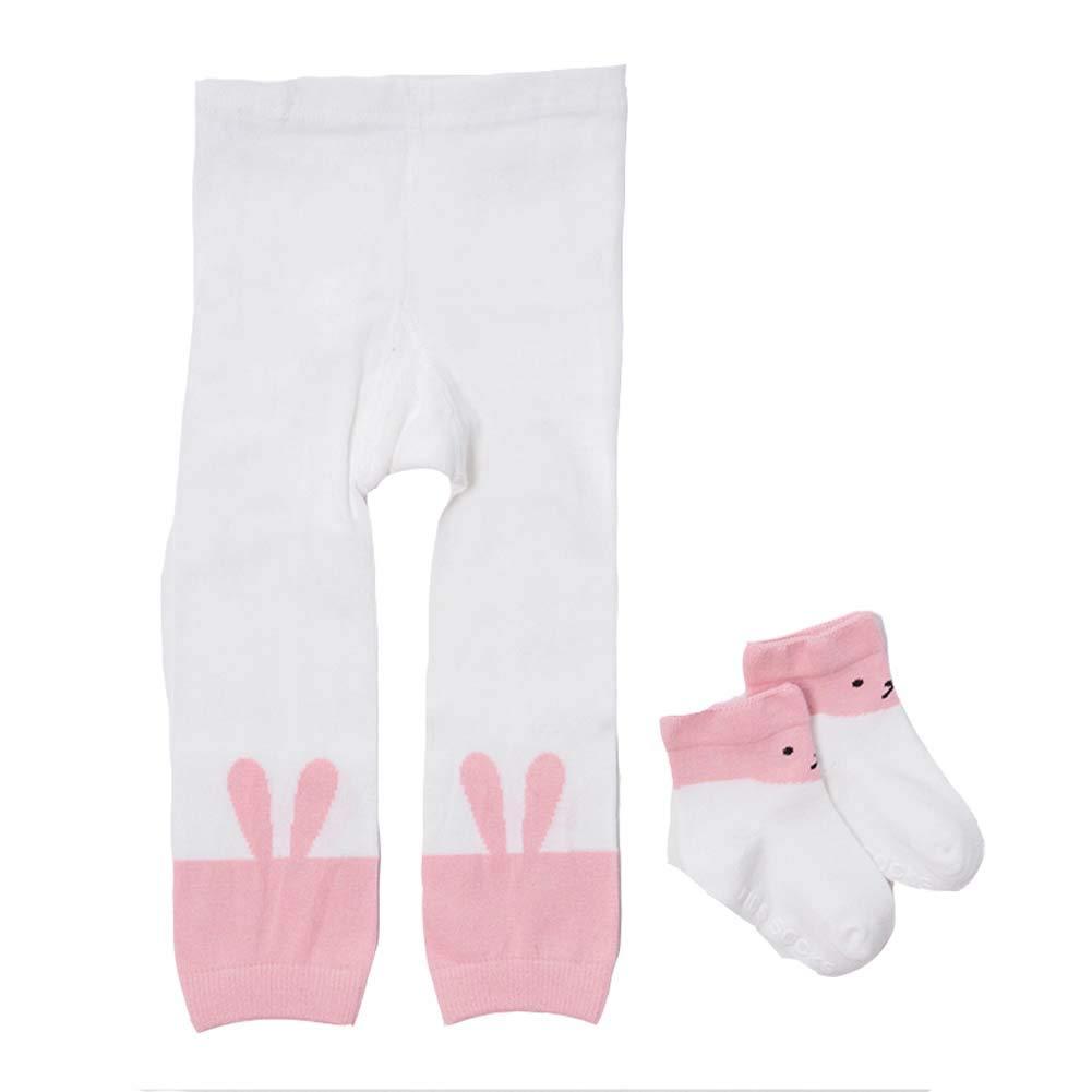 Miyanuby Calzamaglia Per Neonata Legging Calze Bimbi Collant Senza Lacci in Cotone elasticizzato con Calzini 1-4 Anni