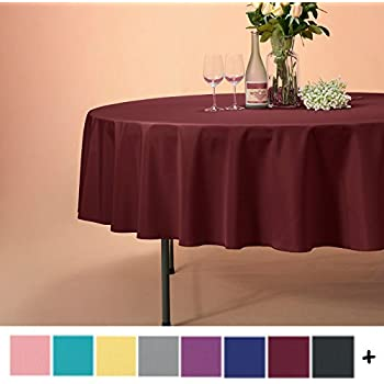 Remedios 70 Inch Round Polyester Tablecloth Table Cover   Wedding  Restaurant Party Banquet Decoration, Burgundy