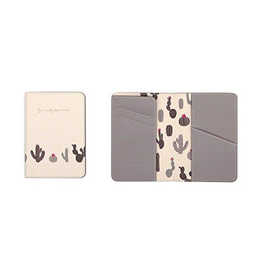 Whthteey Multifunctional PU Leather Passport Holder Lovely Cartoon Folder Passport Cover (White/Cactus)