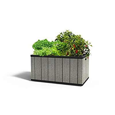 Keter 23.24 Gallon Sequoia Outdoor Resin Self Watering Garden Bed with Drainage, Medium, Grey