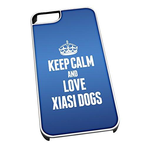 Bianco cover per iPhone 5/5S, blu 2087Keep Calm and Love Xiasi Dogs