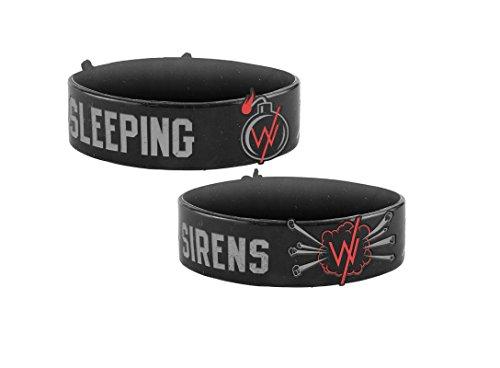 [해외]사이렌으로 자고 팔찌 폭탄 밴드 로고 공식 검은 고무/Sleeping With Sirens Wristband Bomb Band Logo Official Black Rubber