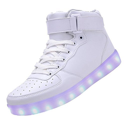 (Present:small towel)JUNGLEST® Womens USB Charging LED Sport Shoes Flashing Sneake White