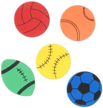 Basketball Volleyball Nikkis Knick Knacks 120 Foam Sport Stickers- Soccer and Football toyco