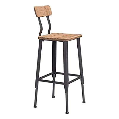 Zuo Modern Clay Bar Chair, Natural Pine/Industrial Gray