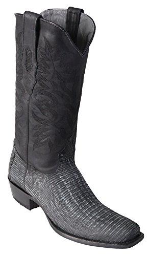 Men's 7 Toe Sanded Black Genuine Leather Teju Lizard Skin Western Boots - Exotic Skin Boots