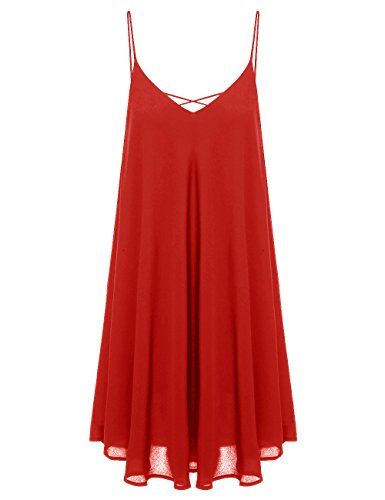 ROMWE Women's Summer Spaghetti Strap Sundress Sleeveless Beach Slip Dress Dark Red M