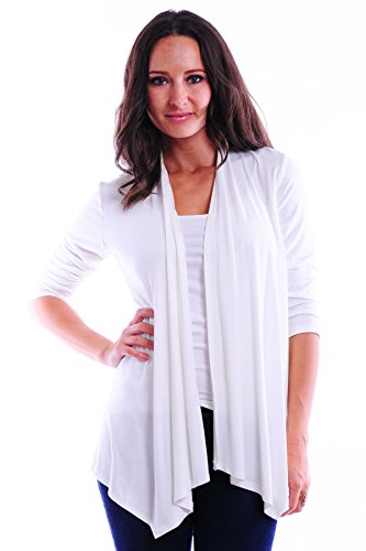 SR Women's Basic 3/4 Sleeve Open Cardigan (Size: Small-5X), 2X, Ivory (Birthday 3/4 Sleeve)