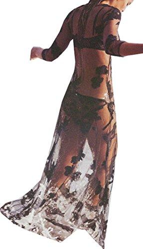 Women 3/4 Sleeve Mesh Sheer Floral Bikini Cover Up See-through Long Maxi Dress-Black L