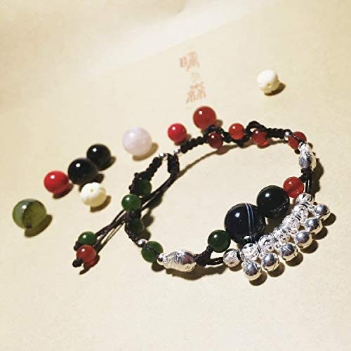 mo People Jade Pupil Women Jewelry Original National Wind Opal Sterling Silver Foot Chain Anklet Ankle Bracelet Bells Agate Anklet