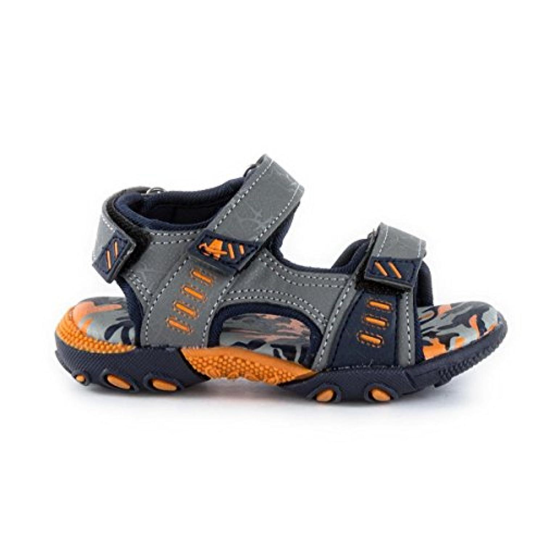 Ascot Boys Grey & Navy Sporty Velcro Sandal - Size 4 - Multicolour