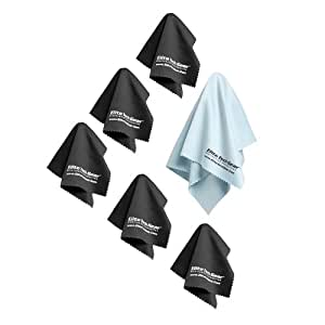 """EliteTechGear Most Amazing Microfiber Cleaning Cloths (6 Pack) Perfect For Cleaning Eyeglasses, LCD Screens, Tablets & Other Delicate Surfaces (5 Large 6x7"""" & 1 OVERSIZED 12x12"""") 100% Satisfaction"""