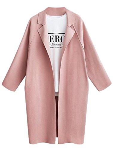 Winwinus Women's Plus-Size Fashion Long-Sleeved Windbreakers Peacoats Pink 2XL
