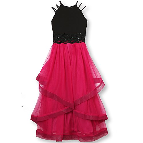 Speechless Girls' Big 7-16 Elegant Party Dress with High-Low Skirt and Strappy, Black/Multi, 8