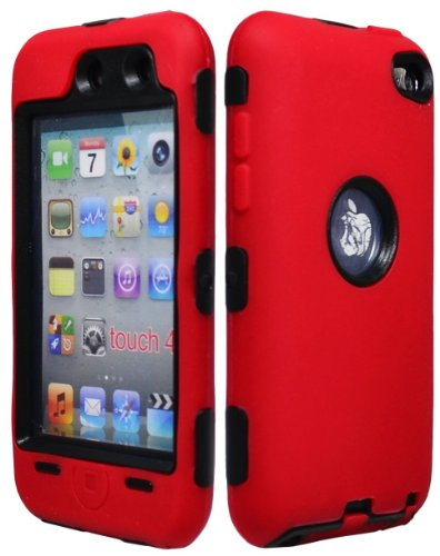 I&t New Case - iPod Touch 4 Case, Bastex Hybrid Rugged Red Outer Silicone Cover Hard Black Inner Shell Case for Apple iPod Touch 4