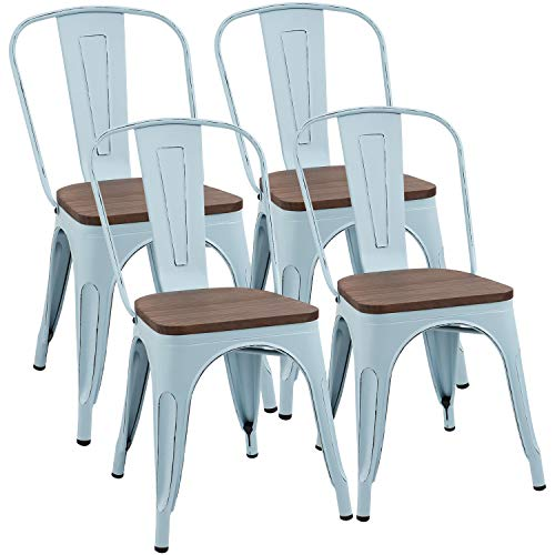 Furmax Metal Dining Chair with Wood Seat,Indoor-Outdoor Use Stackable Chic Dining Bistro Cafe Side Metal Chairs Set of 4 (Blue)