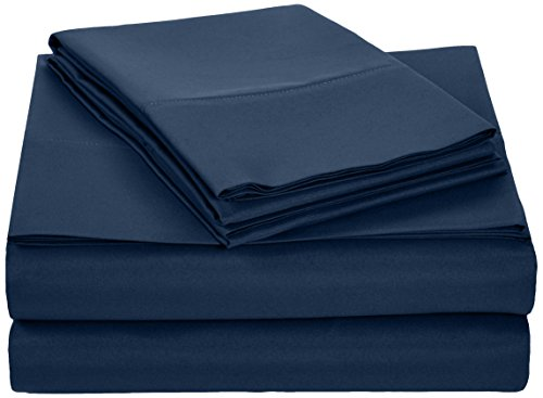 AmazonBasics Microfiber Sheet Set - Full, Navy Blue, Ultra-Soft, Breathable