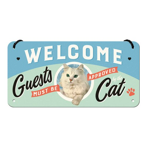 Retro H/ängeschild Vintage-Schild Nostalgic-Art 28027 Welcome Guests Cat Wand-Dekoration T/ür-Schild |Metall 10x20 cm