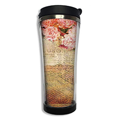 Travel Coffee Mug 3D Printed Portable Vacuum Cup,Insulated Tea Cup Water Bottle Tumblers for Drinking with Lid 14.2oz(420 ml)by,Roses Decorations,Artsy Work Combined with Roses and Old Love Letters ()