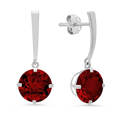 - 14k White Gold Solitaire Round-Cut Garnet Drop Earrings (8mm)