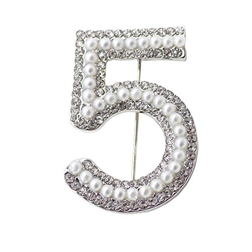 Brooch Pin,Maserfaliw Jewelry Brooch Breastpin,Fashion Women 5 Figure Faux Pearl Rhinestone Badge Brooch Pin Clothes Jewelry - Silver ()