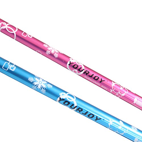 YOURJOY Children's Ultralight EVA Grip 6061 Aluminum Alloy Adjustable 2 Sections Trekking Poles for Kids with Rubber Caps and Mud Buskets,2 pack (Pink)