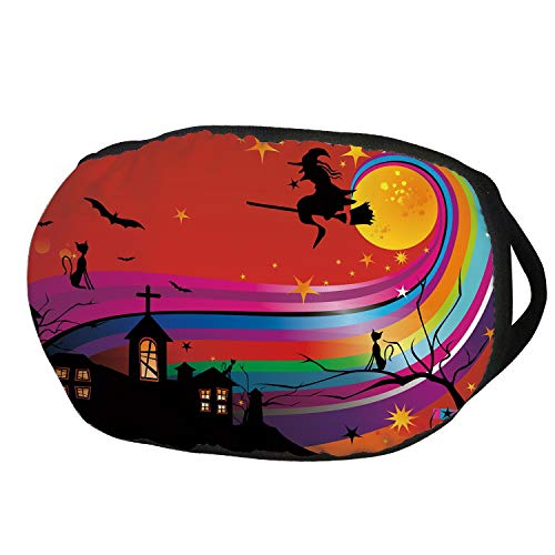 Fashion Cotton Antidust Face Mouth Mask,Halloween,Witch Woman on Broomstick Bats Cat Stars Rainbow Moon Castle Abstract Colorful Decorative,Multicolor,for women & -