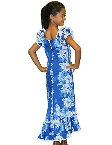 Royal Blue and White Hibiscus Hawaiian Muumuu Dresses for Girls Made in Hawaii-8