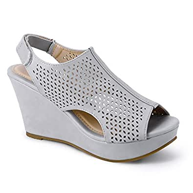 Trary Women's Adjustable Strap Peep Toe Wedge Sandal Grey Size: 5