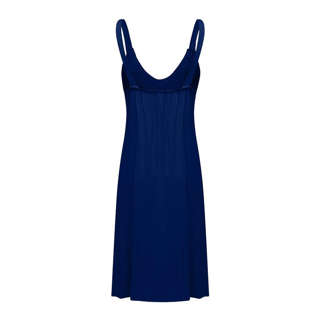 Gibobby Women Beach Sling Boho Lace Deep V Neck Sleeveless Casual Mini Beachwear Dress Sundress Knee Length