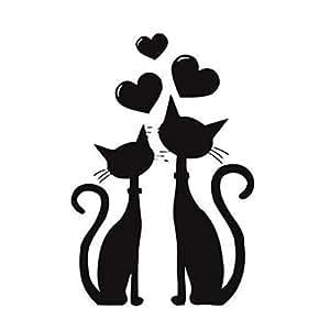 Dosige Dos Gatos Negro Pet Dibujos Animados Pegatinas de