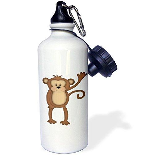 3dRose wb_222512_1 Cute Brown Jungle Monkey Saying Hi Illustration-Sports Water Bottle, 21 oz, White