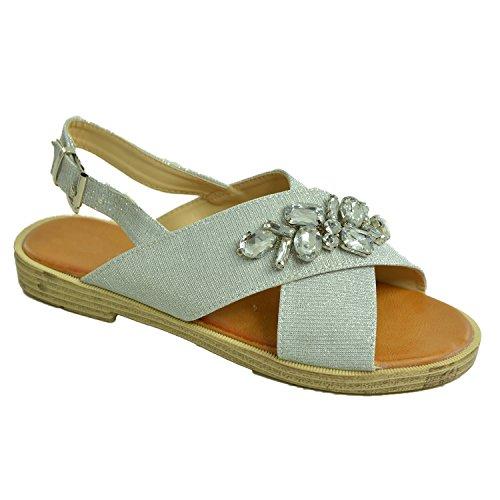 Brand New 2017 Womens Glitter Sparkle Flat Sandals Sling Back Buckle Peep Toe Diamante Studded Shoes Size Uk 3-8 Silver vVnOZyV