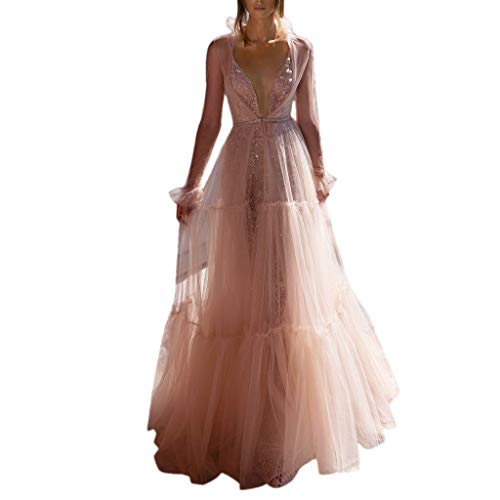 Women Tulle Pageant Dress - Ladies Elegant Ruffle Mesh Patchwork Long Sleeve See Through Back Long Maxi Dresses - Prom Wedding Bridesmaid Formal Ball Gown (XL, Pink)