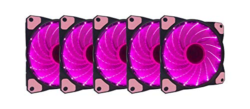 APEVIA AF512L-SPK 120mm Pink LED Ultra Silent Case Fan w/ 15 LEDs & Anti-Vibration Rubber Pads (5-pk)