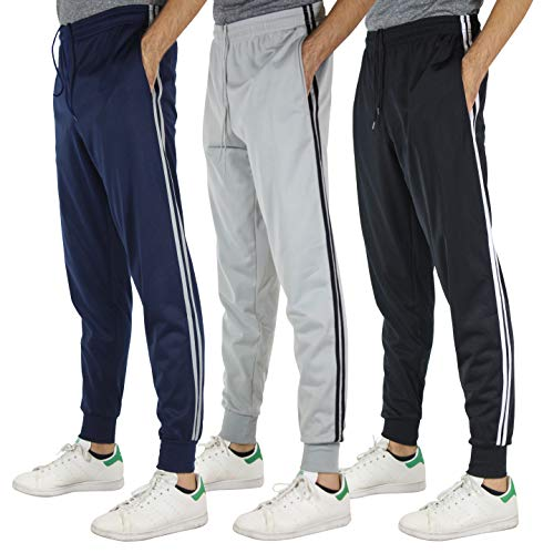 Pack 3 Pants Training (Real Essentials 3 Pack Men's Tricot Casual Active Athletic Training Gym Workout Track Pants Jogger Sweatpants Fleece Tapered Slim Fit,Set 2-XL)