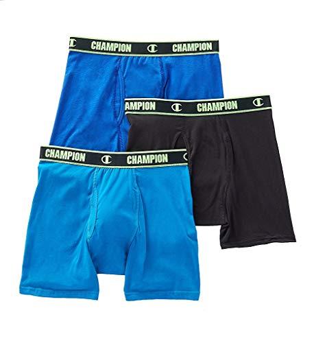 Champion Cotton Performance Boxer Briefs 3-Pack, M, Black/Surf / Teal