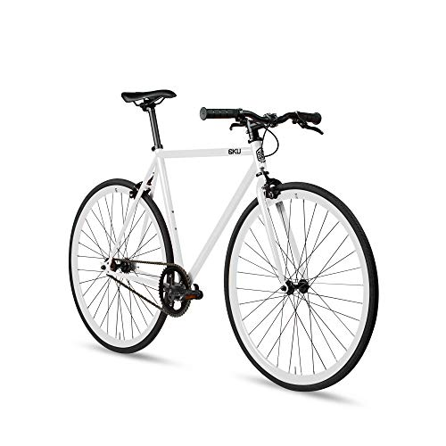 - 6KU Evian 1 Fixed Gear Bicycle, Gloss White/White, 49cm