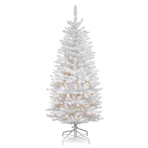National Tree 4.5 Foot Kingswood Fir White Pencil Tree (Lit Pre Tree Christmas White)