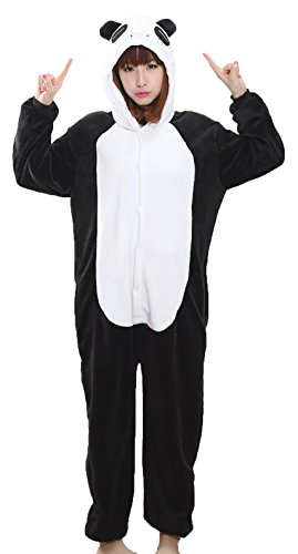 Nicetage Unisex Adult Pajama Onesies Fleece One Piece Halloween Costumes Panda (Halloween Panda Costume)