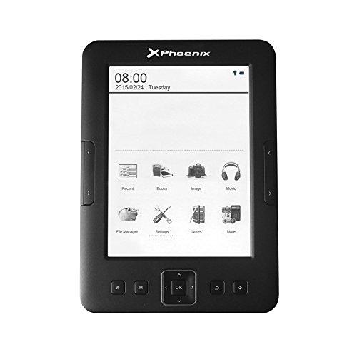 "Phoenix Technologies PHSMARTREADER+ - Lector de eBooks (pantalla 6"", con luz, 4 GB, micro USB) color negro"
