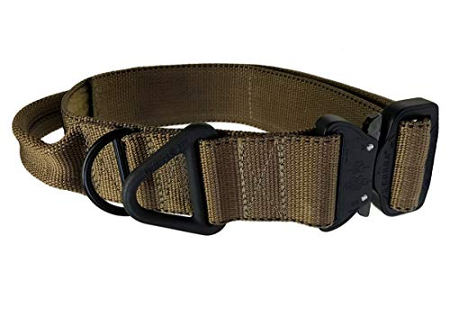 Miles Tactical K9 Cobra Dog Collar for Large Dogs with AustriAlpin Buckle (Large with Handle, Coyote Brown)