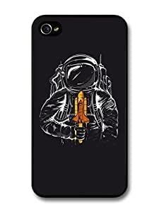 AMAF ? Accessories Astronaut Illustration Space Shuttle Ice Cream case for iPhone 4 4S
