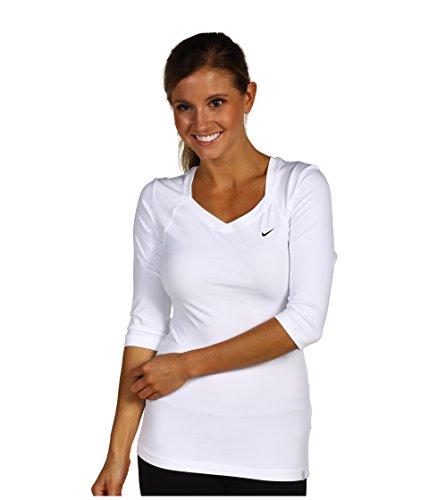 Nike Women's Dry 3/4 Sleeve Pure Tennis Top - Purple/Bright Mango (Small) ()