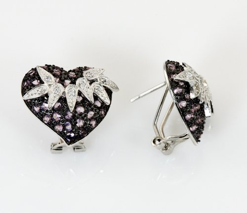 White Gold Plated (Rhodium Plated) 925 Sterling Silver with Simulated Amethyst in Black Rhodium and Clear Cubic Zirconia in Gold Plated and rest in Rhodium Plated (3-tone) Pave Heart Leaf Earring ()