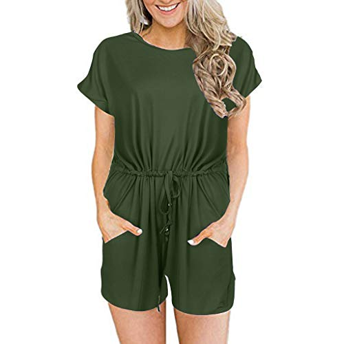 Toimothcn Women's Solid Jumpsuit Casual Loose Short Sleeve Rompers with Pockets Elastic Waist Playsuit(Army Green,L)]()
