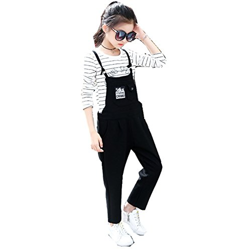 FTSUCQ Girls Long Sleeve Pullover Striped Shirt + Suspender Trousers,120