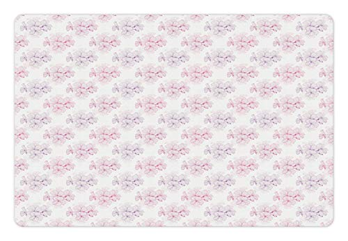 Lunarable Geranium Pet Mat for Food and Water, Shabby Corsage Style Romantic Planting Bouquets Wedding Bridal Blossom, Rectangle Non-Slip Rubber Mat for Dogs and Cats, Lavender White Magenta ()